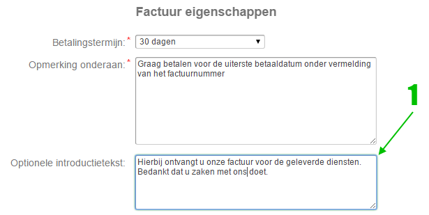Introtext factuur