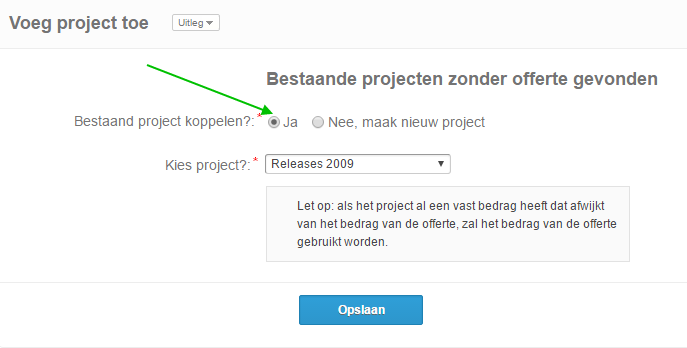 voeg bestaand project toe